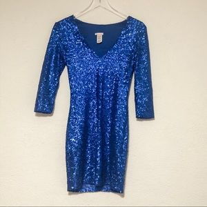Bright blue sequin mini dress for New Year's